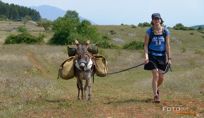 Esel-Trecking in Italien