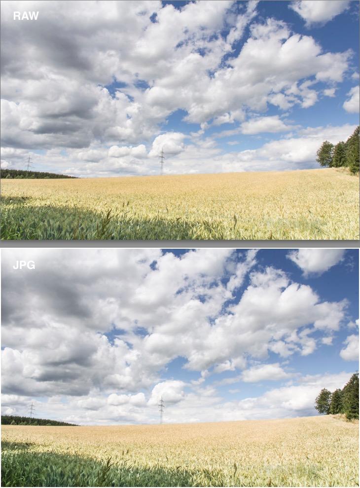 Bearbeitetes RAW im Vergleich zum JPEG