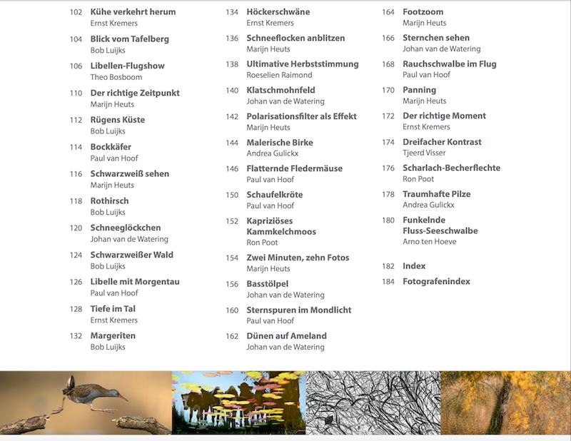 Praxisbuch außergewöhnliche Naturfotografie Inhaltsverzeichnis