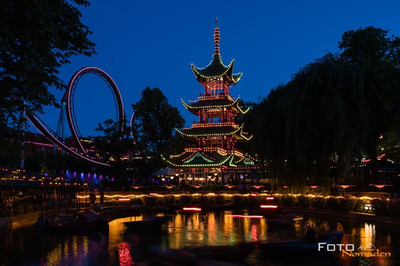 Kopenhagen Tivoli chinesische Pagode Nachtaufnahme
