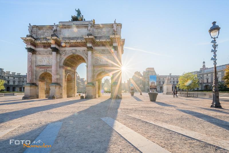 Paris Fotospot: Arc de Triomphe du Carrousel Morgenstimmung mit Blendenstern