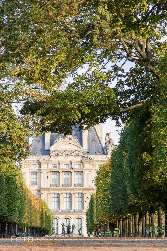 Paris Fotospot Jardin des Tuileries, Allee mit Blick auf die Ècole du Louvre