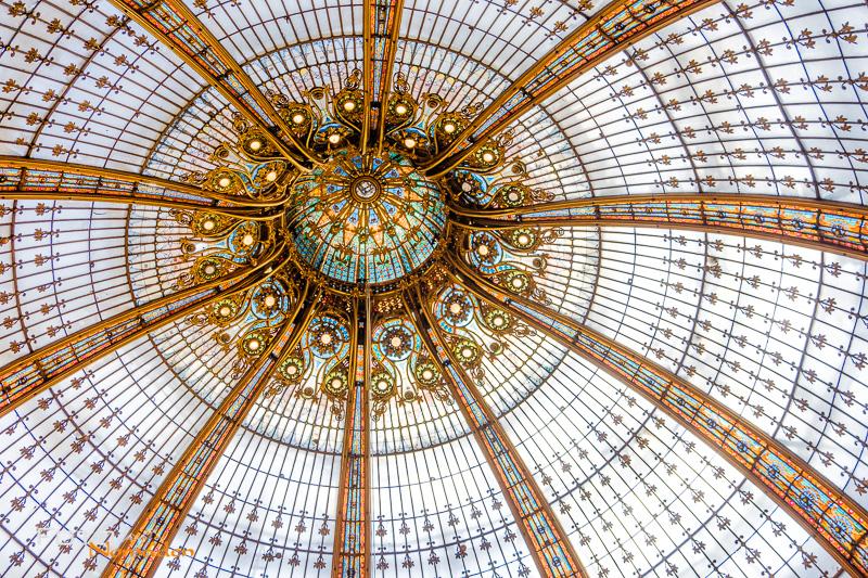 Paris Fotospot: Galeries Lafayette Haussmann Glaskuppel Detailaufnahme