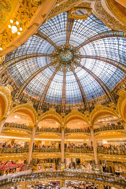 Paris Fotospot: Galeries Lafayette Haussmann Innenaufnahme mit Weitwinkel