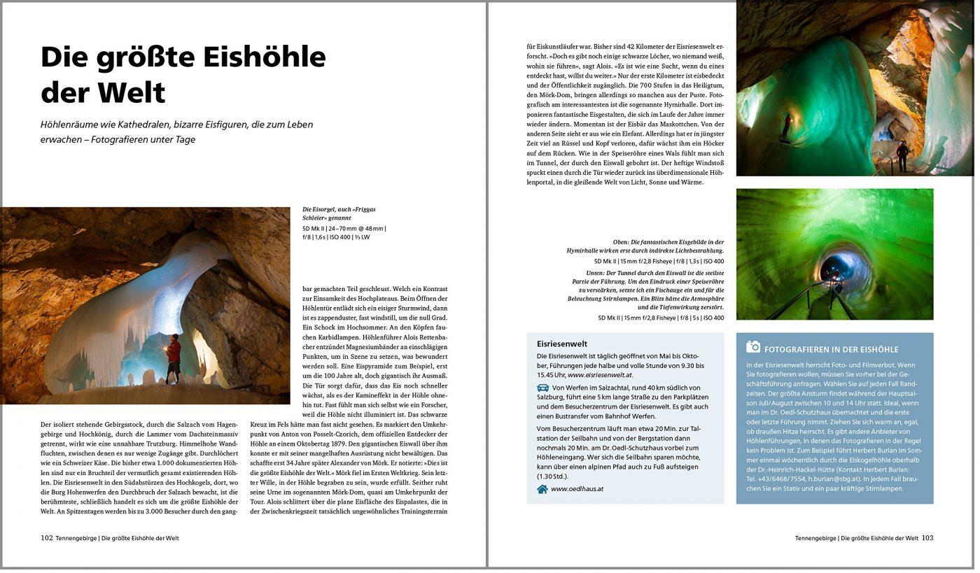 Fotografieren in den Alpen Eishöhle