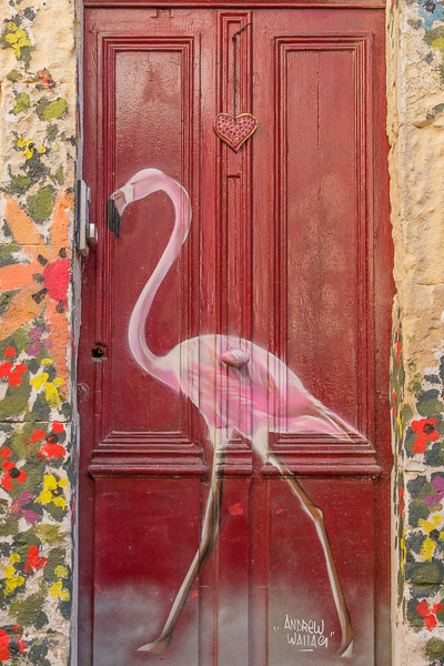 Camargue Flamingos - Haustür mit Flamingo in Aigues-Mortes