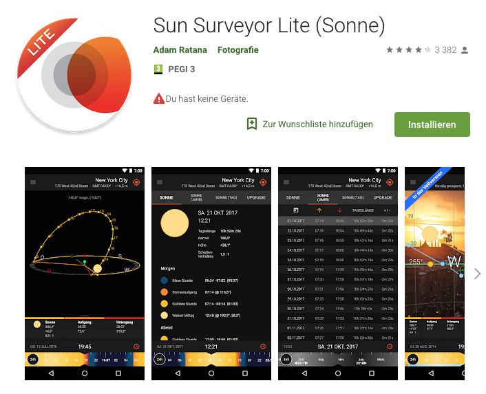 Tipp für Strandfotografie - Die Sun Surveyor App