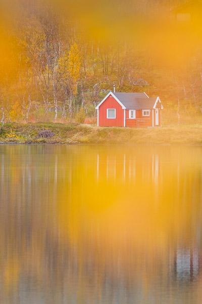 Rote Holzhütte im Herbst während der Ruska in Lappland