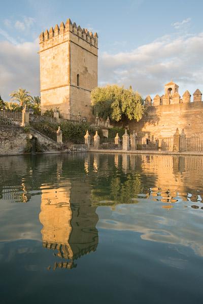 Spiegelung vom Turm des Alcazar in Cordoba, Andalusien
