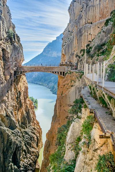 Brücke am Ende des Caminito del Rey, Andalusien