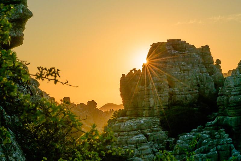Sonnenuntergang in den Felsen von Torcal de Antequera.
