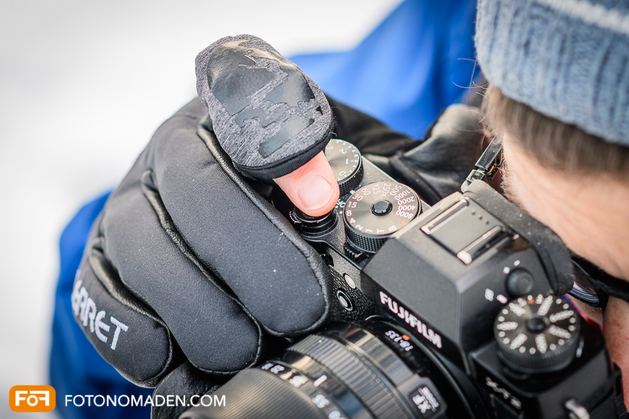 Fotohandschuh Bedienung der Kamera