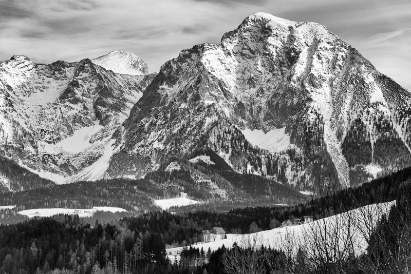 Nationalpark Kalkalpen Schwarzweiß Bergpanorama
