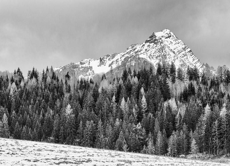 Winter Reiseziel Nationalpark Kalkalpen, Schwarzweißfoto Berglandschaft