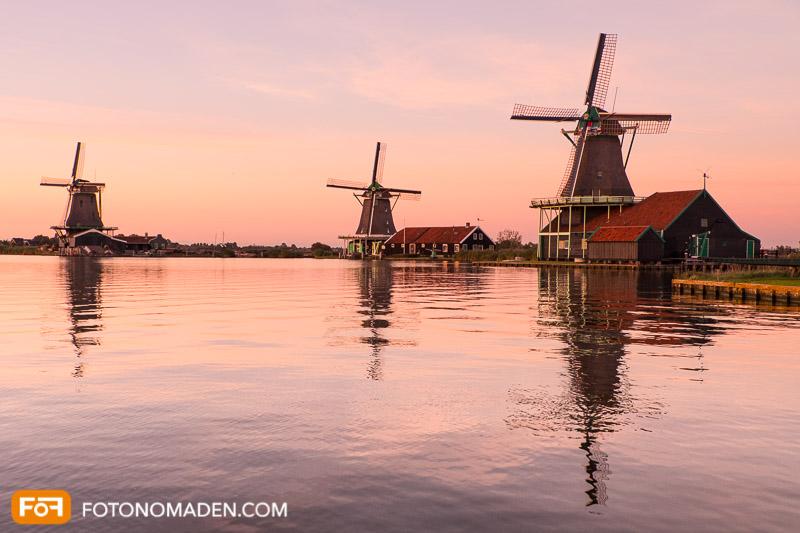 Windmühlen Zaanse Schans Sonnenuntergang