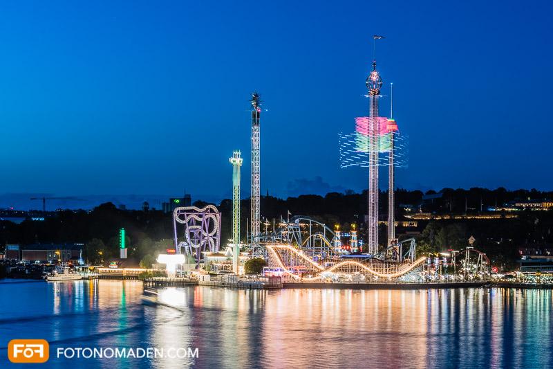 Städtefotografie Stockholm Grönalund Tivoli blaue Stunde