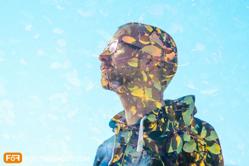Bildgestaltung im manuellen Modus: Doppelbelichtung Männerporträt und Blätter